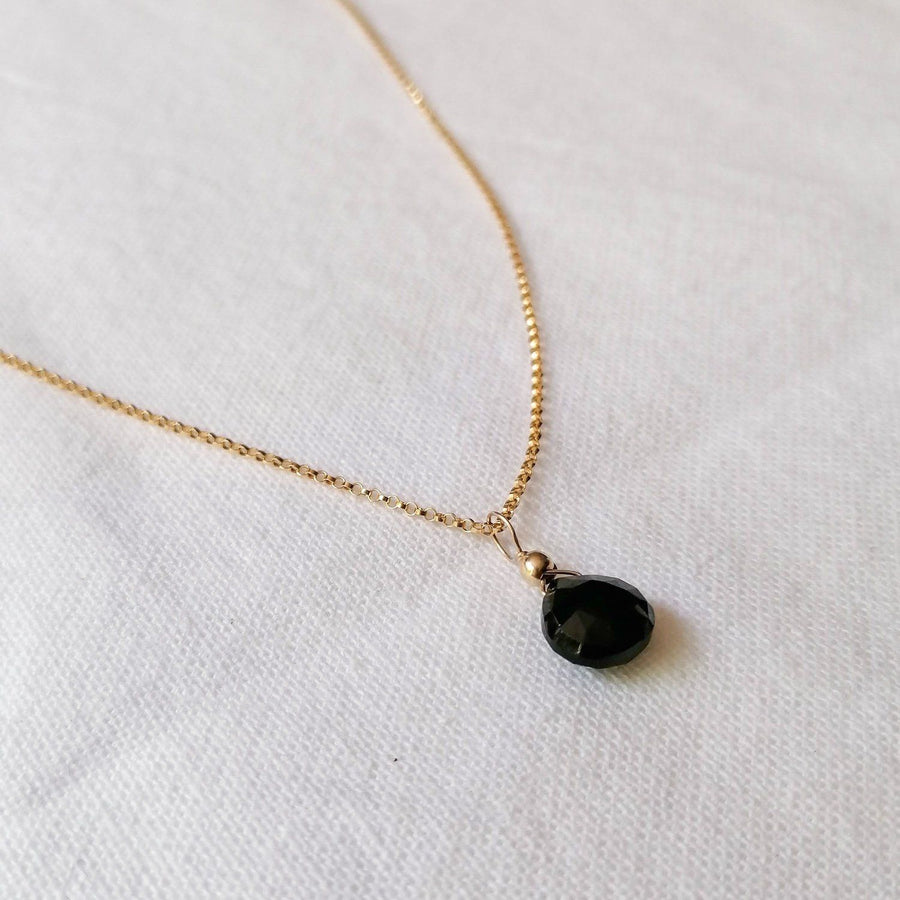 Kelly Set, Black Spinel Hoops and Pendant in Gold Set Sayulita Sol Jewelry