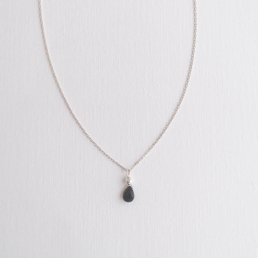 Kelly Set, Black Spinel Hoops and Pendant in Silver Set Sayulita Sol Jewelry