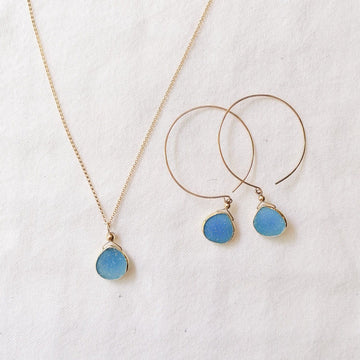 Kelly Set, Blue Druzy Hoops and Pendant in Gold Set Sayulita Sol Jewelry