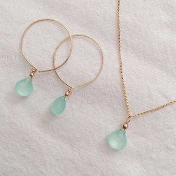 Kelly Set, Chalcedony Hoops and Pendant in Gold Set Sayulita Sol Jewelry