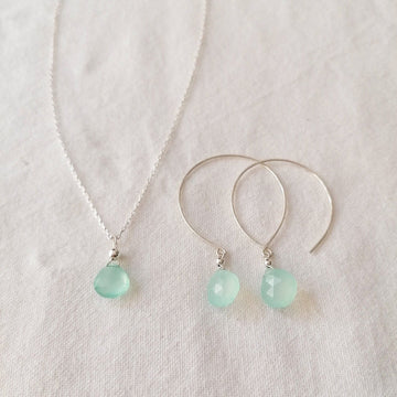 Kelly Set, Chalcedony Hoops and Pendant in Silver Set Sayulita Sol Jewelry
