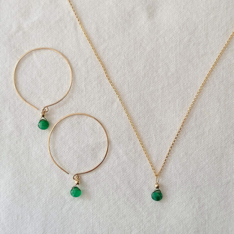 Kelly Set, Emerald Hoops and Pendant in Gold Set Sayulita Sol Jewelry