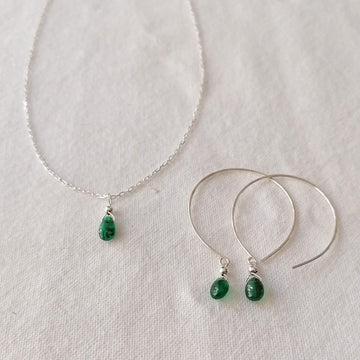 Kelly Set, Emerald Hoops and Pendant in Silver Set Sayulita Sol Jewelry