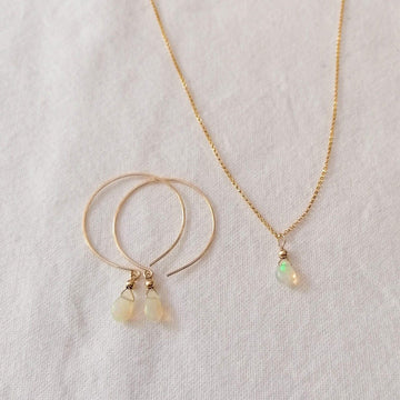 Kelly Set, Ethiopian Fire Opal Hoops and Pendant in Gold Set Sayulita Sol Jewelry