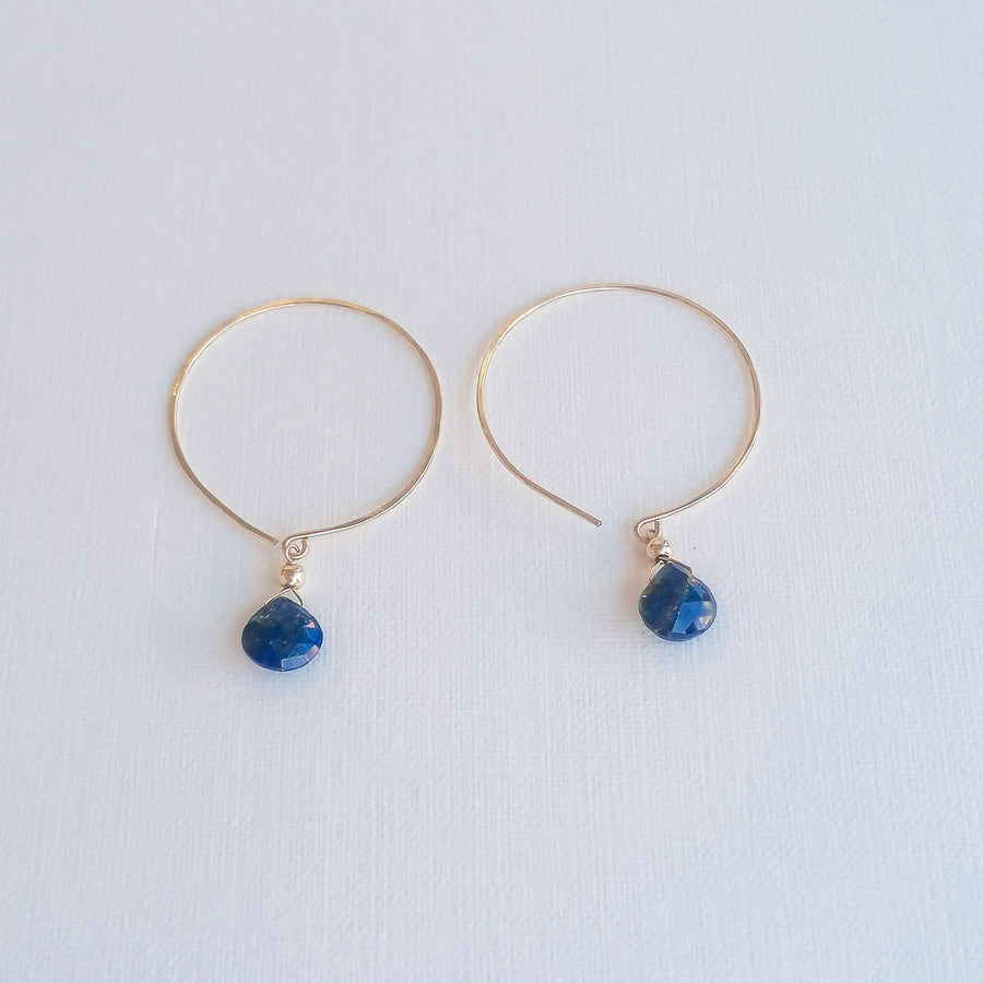 Kelly Set, Lapis Lazuli Hoops and Pendant in Gold Set Sayulita Sol Jewelry