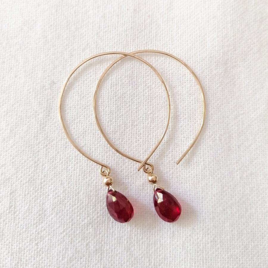 Kelly Set, Ruby Hoops and Pendant in Gold Set Sayulita Sol Jewelry