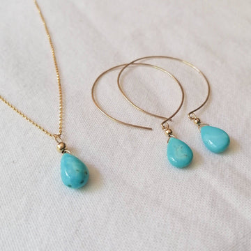 Kelly Set, Turquoise Hoops and Pendant in Gold Set Sayulita Sol Jewelry