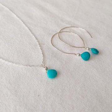 Kelly Set, Turquoise Hoops and Pendant in Silver Set Sayulita Sol Jewelry