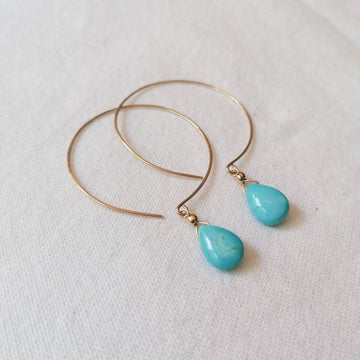 Kelly Turquoise and Gold Hoop Earrings