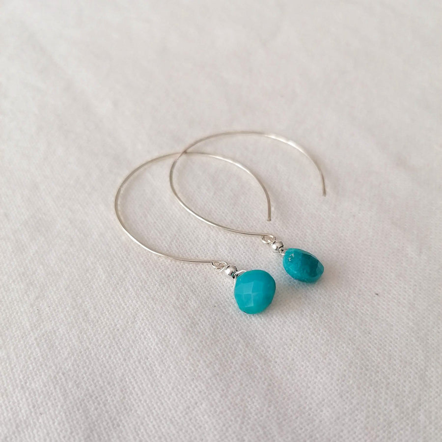 Kelly Turquoise and Silver Hoop Earrings Earrings Sayulita Sol
