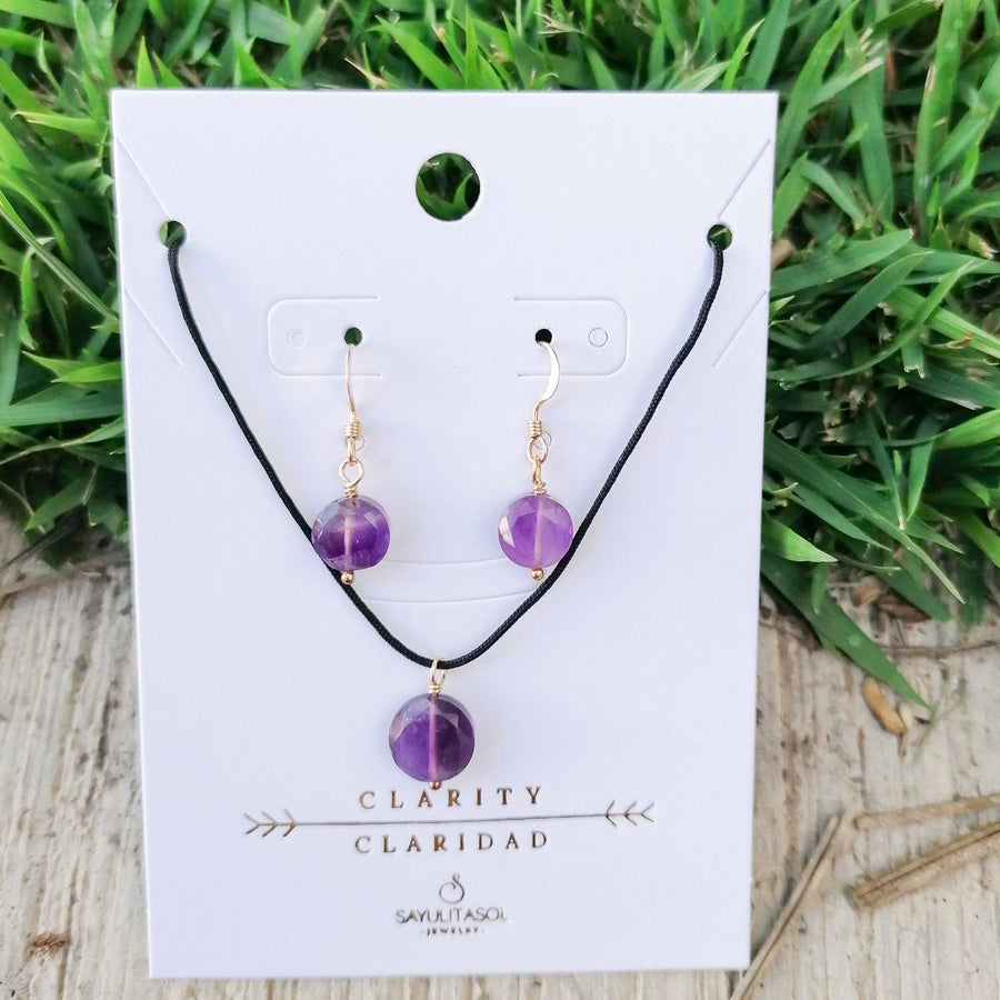 Maia Clarity Set, Amethyst in Gold Set Sayulita Sol Jewelry