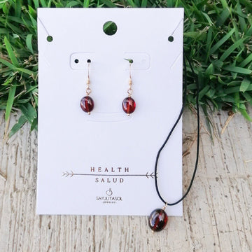 Maia Health Set, Garnet in Gold Set Sayulita Sol Jewelry