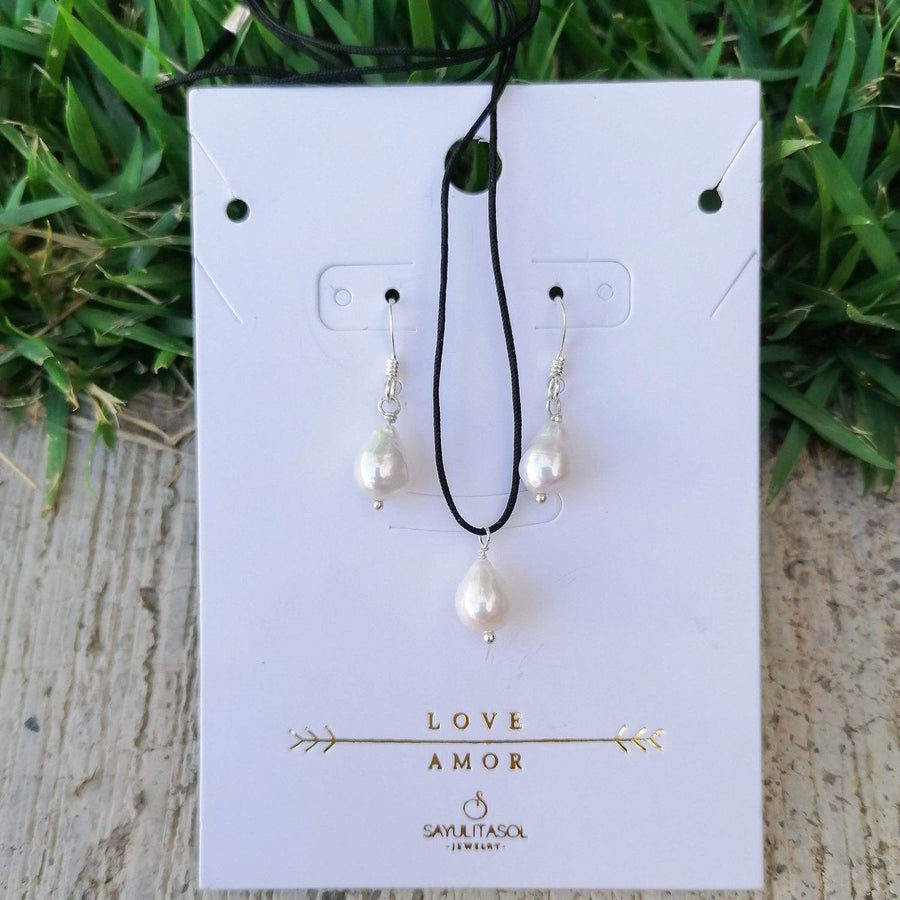 Maia Love Set, Baroque White Pearl in Silver Set Sayulita Sol Jewelry