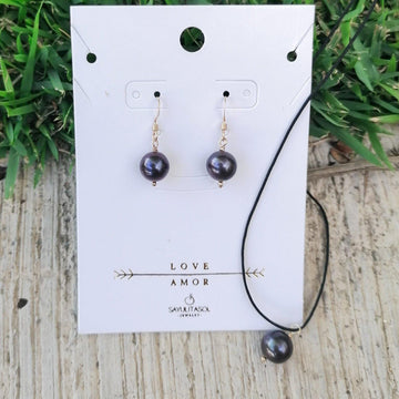 Maia Love Set, Freshwater Black Pearl in Gold Set Sayulita Sol Jewelry