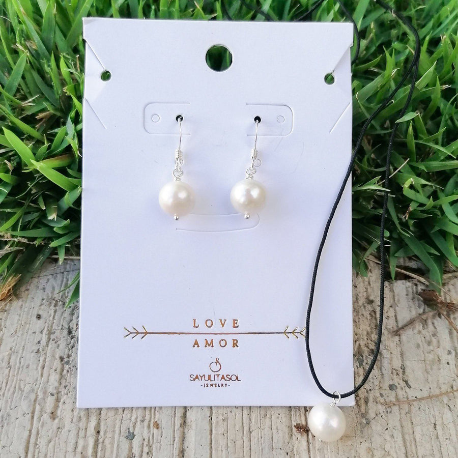 Maia Love Set, Freshwater White Pearl in Silver Set Sayulita Sol Jewelry