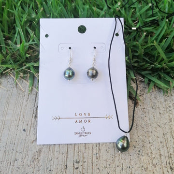 Maia Love Set, Tahitian Black Pearl in Silver Set Sayulita Sol Jewelry