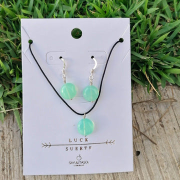 Maia Luck Set, Peruvian Opal in Silver Set Sayulita Sol Jewelry