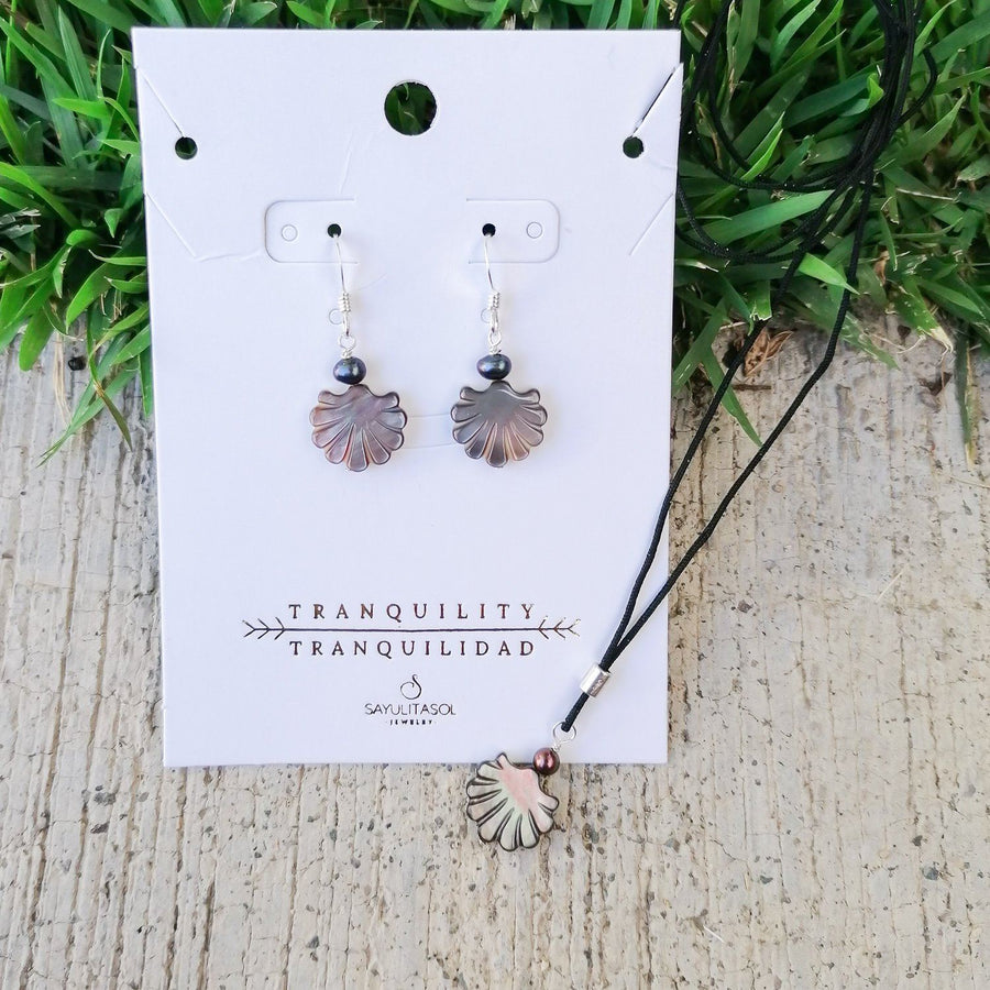 Maia Tranquility Set, Black Mother of Pearl in Silver Set Sayulita Sol Jewelry