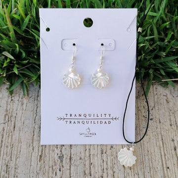 Maia Tranquility Set, White Mother of Pearl in Silver Set Sayulita Sol Jewelry