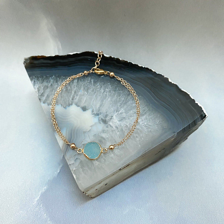 Margo Blue Druzy and Gold Bracelet - Sayulita Sol Jewelry