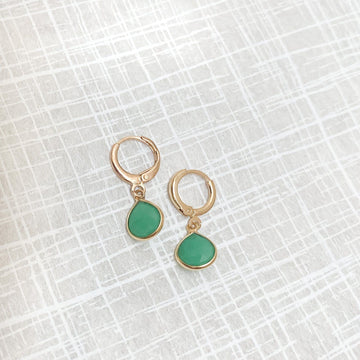 Margo Chrysoprase Huggie Earrings in Gold - Sayulita Sol Jewelry