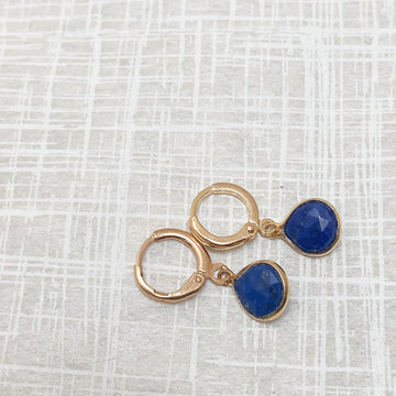 Margo Lapis Lazuli Huggie Earrings in Gold - Sayulita Sol Jewelry