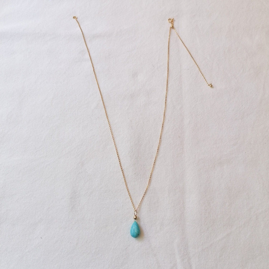 Mexican Turquoise Isla Pendant in Gold Necklaces Sayulita Sol 14kt Gold Fill Adjustable Chain +$85