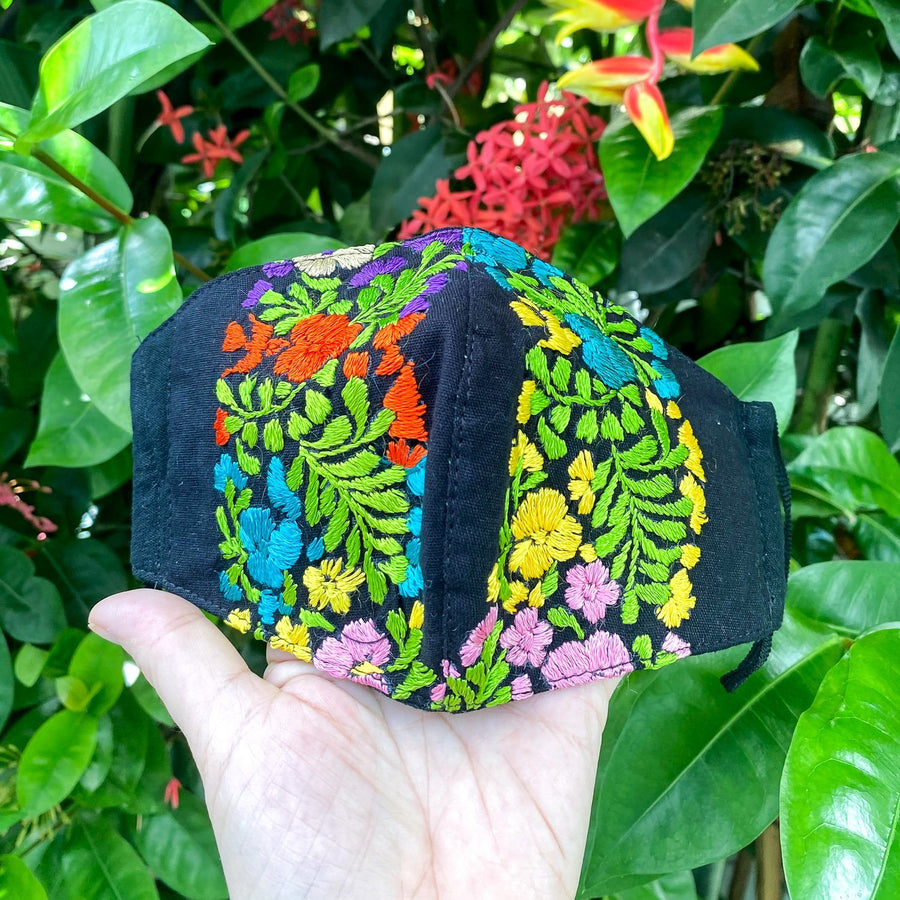 Oaxacan Hand Embroidered Face Mask with Flower Motif Mask Sayulita Sol Jewelry