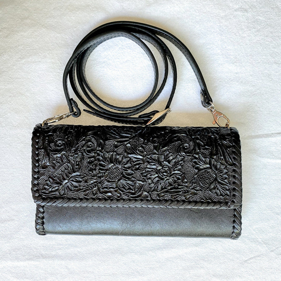 Origenes Clasica Clutch with Detachable Strap Bag Origenes Black