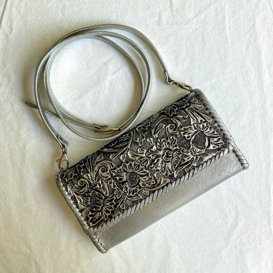 Origenes Clasica Clutch with Detachable Strap Bag Origenes Silver