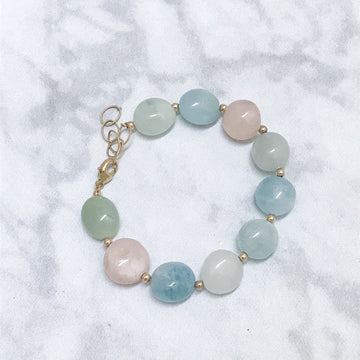 Piedras Bracelet with Aquamarine and Gold - Sayulita Sol Jewelry