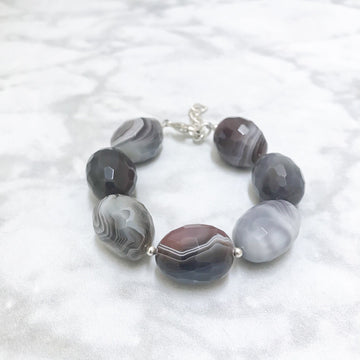 Piedras Bracelet with Black Band Onyx and Silver - Sayulita Sol Jewelry