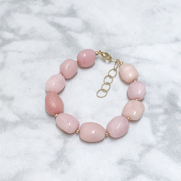 Piedras Bracelet with Pink Opal and Gold - Sayulita Sol Jewelry