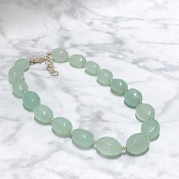 Piedras Necklace with Green Chalcedony and Gold - Sayulita Sol Jewelry