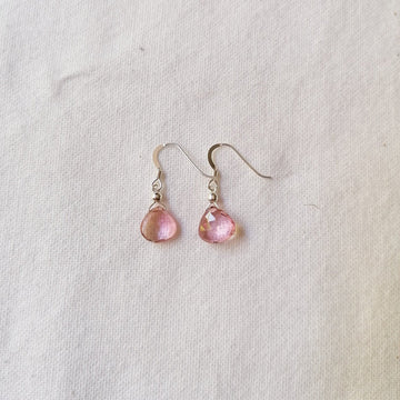 Pink Quartz Isla Earrings in Silver Earrings Sayulita Sol Jewelry