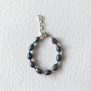 Rainbow Gem and Black Pearl Bracelet with Silver - Sayulita Sol Jewelry