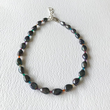Rainbow Gem and Black Pearl Necklace with Silver - Sayulita Sol Jewelry