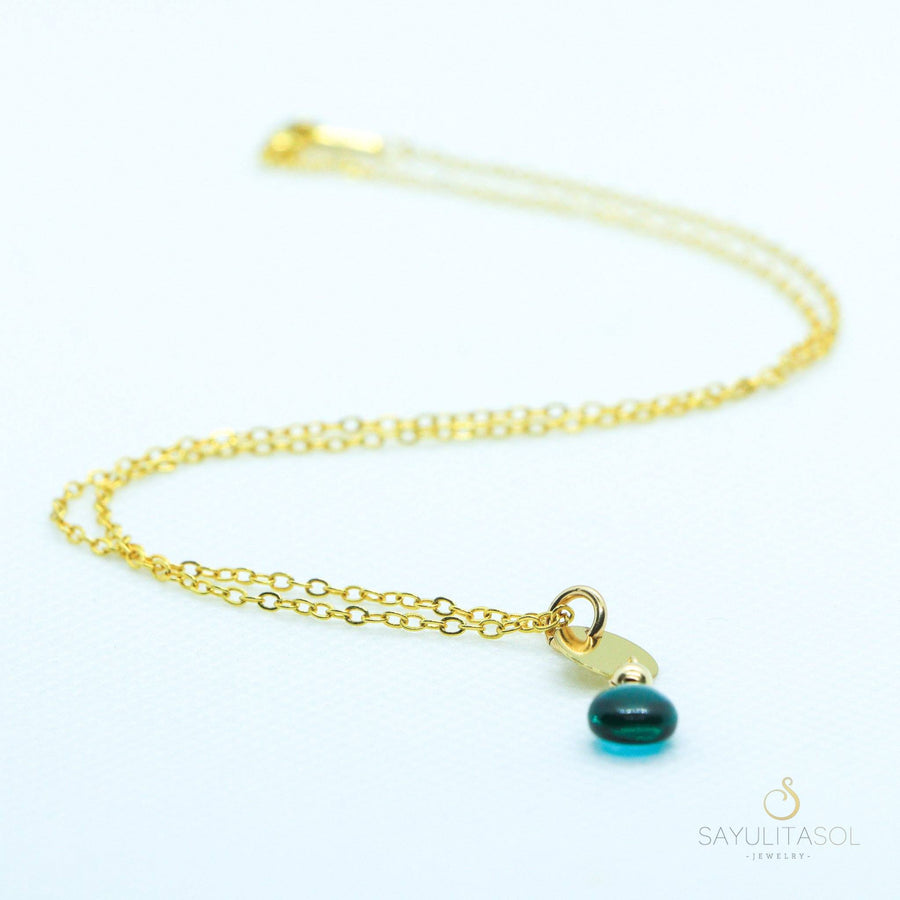 Sol Pendant with Blue Quartz in Gold Necklaces Sayulita Sol Jewelry 18
