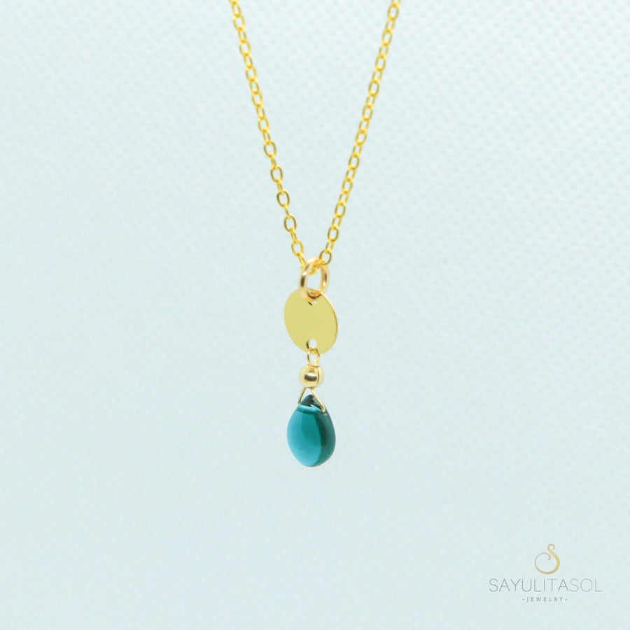Sol Pendant with Blue Quartz in Gold Necklaces Sayulita Sol Jewelry