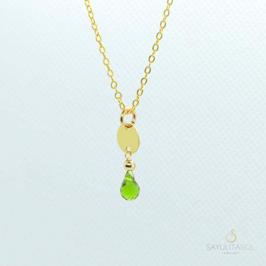 Sol Pendant with Green Quartz in Gold Necklaces Sayulita Sol Jewelry