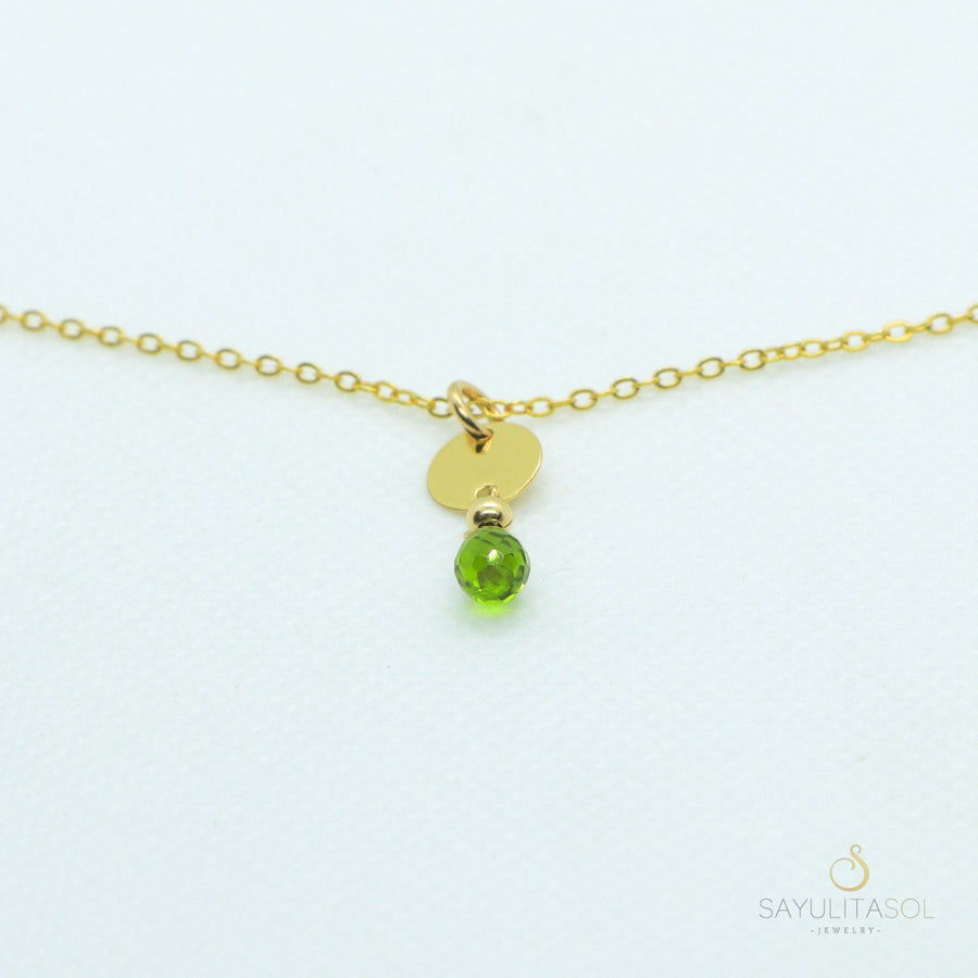 Sol Pendant with Green Quartz in Gold Necklaces Sayulita Sol Jewelry 16