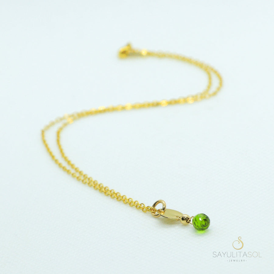 Sol Pendant with Green Quartz in Gold Necklaces Sayulita Sol Jewelry 18