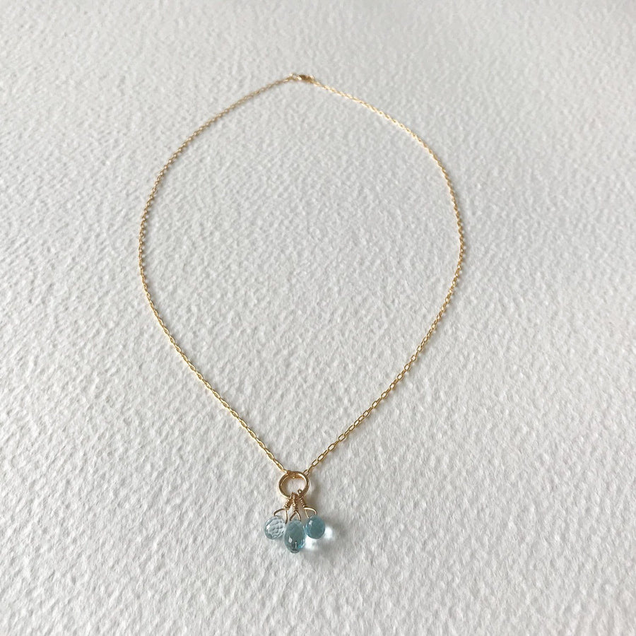 Trini Blue Topaz Pendant in Gold - Sayulita Sol Jewelry