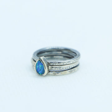 Trio Blue Opal and Silver Ring Rings Sayulita Sol