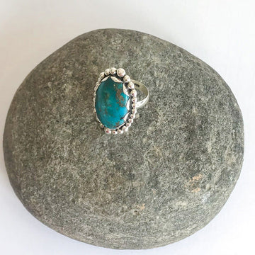 Vintage Turquoise and Silver Ring, Large - Sayulita Sol Jewelry