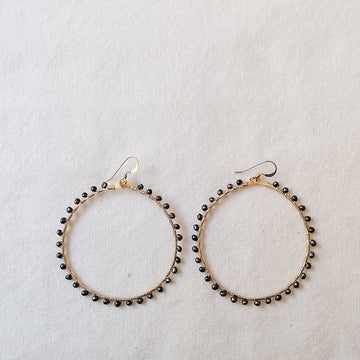 Woven Ola Earrings with Black Pearl in Gold Earrings Sayulita Sol Jewelry