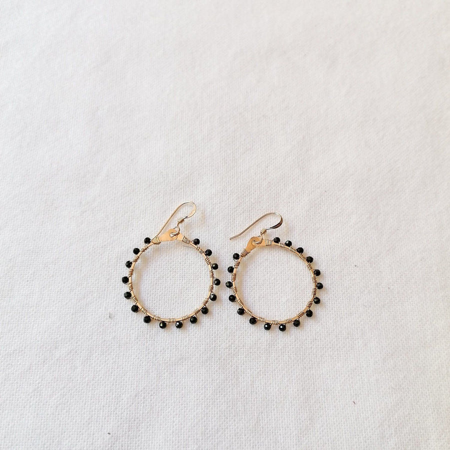 Woven Ola Earrings with Black Spinel in Gold Earrings Sayulita Sol Jewelry