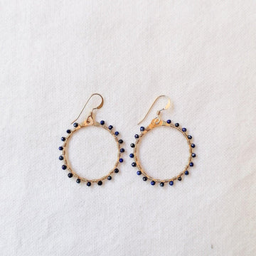 Woven Ola Earrings with Lapis Lazuli in Gold Earrings Sayulita Sol Jewelry