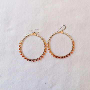 Woven Ola Earrings with Mexican Fire Opal in Gold Earrings Sayulita Sol Jewelry