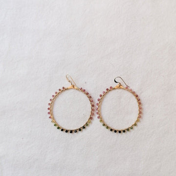 Woven Ola Earrings with Tourmaline in Gold Earrings Sayulita Sol Jewelry